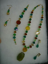 Modern new glass crystal mix color jewelry set