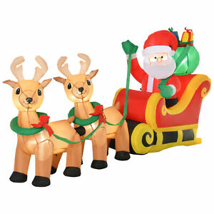 Inflatable Santa Claus Sleigh LED Lights Reindeer Christmas Holiday Party Decor
