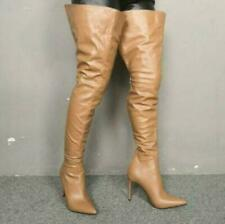 Sexy Womens Over Knee High Thigh Boots Pointy Toe Stiletto Fashion Shoes 35-47