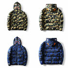 NEW A Bathing Ape Camo Zip Shark Jaw Bape Camouflage Cotton Hoodie Coats Jackets