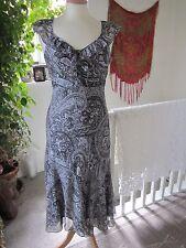 Per Una Size 10 L Beautiful Watercolour Flowers Print Dress Black & Grey New.