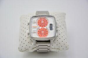 Diesel Hal Analog Watch Orange and Silver DZ7304 Used