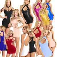 Women's Bodycon Dress Wetlook Sleeveless Evening Party Cocktail Club Mini Dress