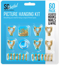 60 x Assorted Picture Hanging Set Hooks Nails Wire Kit Photo Frame Mirror Canvas