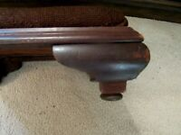 Antique Custom EMPIRE FURNITURE FOOTSTOOL Applied PADDED Hand Done NEEDLEPOINT