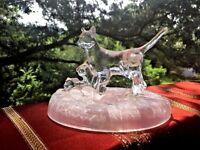 Antique ICE GLASS SCULPTURE Mama Cat & Her Kittens Curio Cabinet ART NOUVEAU