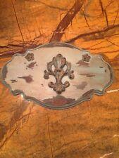 Hand made hand distressed European style flor de lis wall plaque