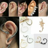 Elegant Women's Crystal Clip Ear Cuff Stud Punk Wrap Cartilage Earring Jewelry