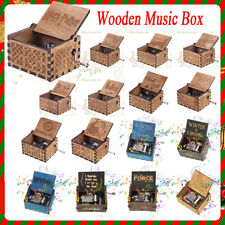 Retro Wooden Music Box Craft Hand Crank Engraved Toys Kids Birthday Gift Xmas*