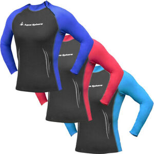 Aqua Sphere Women's Swim Skin Wetsuit Top Long Sleeve High Neck Rash Guard Shirt