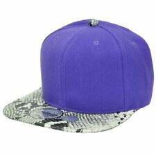 Purple Blank Solid Plain Faux Skin Snake Flat Bill Snapback Constructed Hat Cap