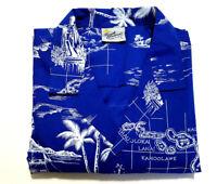 Royal Creations Mens L SS Hawaiian Shirt, Preowned. Royal Blue w/ White Print