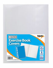 """9"""" x 7"""" Clear Strong Plastic Exercise  x 3 Book Covers Slip On Jackets 301756"""
