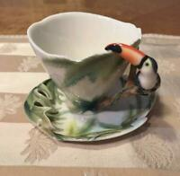 FRANZ COLLECTION TEA SAUCER CUP TOUCAN AND JUNGLE BIRD COLLECTIBLE F/S FROM JPN