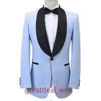 Men light Blue Jacquard Paisley Tuxedos Groom Dinner Prom Party Suit Custom