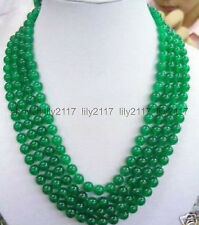 Natural 8MM Green chalcedony Gemstone Necklace 100''
