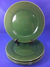 Mottled DARK GREEN Ceramic Pottery DINNER PLATES Shiny Glaze SET OF 4