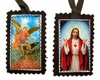 Brown Cloth Sacred Heart of Jesus with Saint Michael Scapular Necklace, 21 Inch
