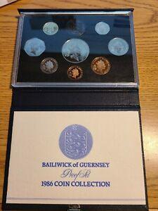 GUERNSEY 1986 PROOF SET EIGHT COINS ORIGINAL BAILIWICK OF GUERNSEY CASE