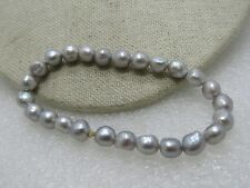 "Gray Faux Pearl Stretch Bracelet, 7"",  Gray Baroque Style Pearls, 7-7.5mm"