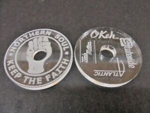 """2 x 45 RPM  7"""" Single Vinyl Records Centre Adapter, Northern Soul, Labels"""