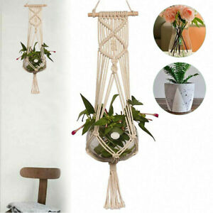 Makramee Blumenampel Garten Baumwollseil Hängeampel Pflanzenbeet Wandbehang DE
