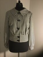 Womens Worthington Black White Houndstooth Banded Button-Up Jacket Size Large