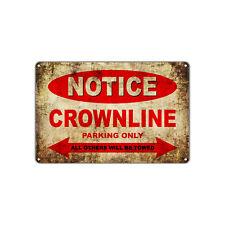 CROWNLINE Motorcycles Parking Sign Vintage Retro Metal Art Shop Man Cave Bar