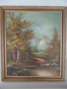 Vintage Retro Framed Art Landscape Mountain Snow Trees Scene  Painting Signed