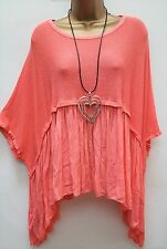 Italian Lagenlook Short Sleeve Coral Flared Tunic Top PLUS 18 20 22 24 26