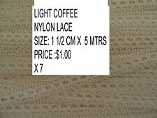 NYLON LACE 1 1/2 CM X 5 MTRS IN LIGHT COFFEE