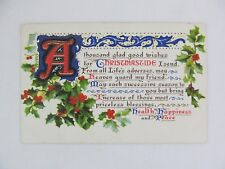 Vintage Postcard Christmas Wishes Health Happiness Peace Holly