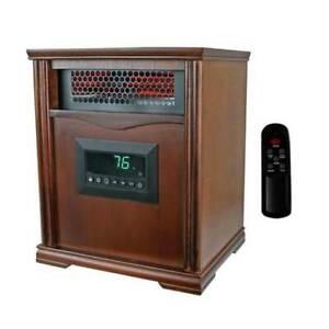 Infrared Quartz Heater Dark Oak 1500 Watt Portable.  With 2 Remotes!