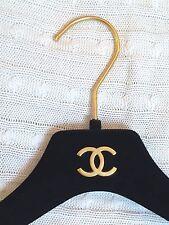 CHANEL Luxury Black Velour and Gold Dress Hanger