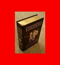 ☆BEAUTIFUL÷RARE LEATHER BOUND 22K GOLD-EDGED BOOK:HOMER-THE ILIAD+ODYSSEY*TROY!<