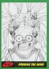 Mars Attacks The Revenge Green Pencil Art Base Card P-37 Probing the Mind