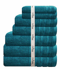 7 PCE 575GSM EGYPTIAN COTTON TOWEL SET 2x BATH/ HAND / FACE TOWELS 1 x MAT AQUA