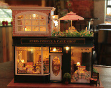 New DIY Miniature Wooden Dollhouse Coffee House Handcrafted Toy Doll Houses Gift