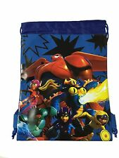Disney Big Hero 6 Baymax Hiro Wassabi Boys Drawstring Sport Gym Tote Bag - Blue