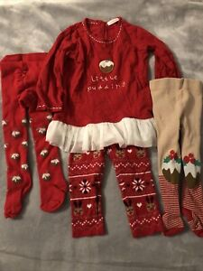 Christmas Girls 9-12 Months Outfit Little Pudding Set