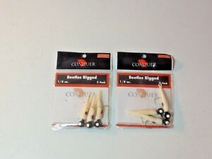 Beetles Rigged 1/8 oz Conquer Outdoors 2 pks of 3 ea White/Red