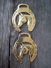 Brass Horse Bridle Harness Medallion Horseshoe Horse Head Lot of 2