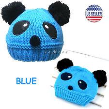 Baby Girl Boy Pom Pom Knitted Beanie Panda Hat Cap 4 mon-5 yrs Blue US Stock