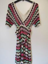 Guess Multicolor ZigZag Knit Short Sleeve Belted Lined Mini Dress SZ. S