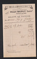 """VILLENEUVE-sur-YONNE (89) MERCERIE BONNETERIE """"MILLON-CATHY / Henri DUPUY"""" 1919"""