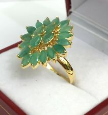 14k Solid Yellow Gold Diamond Shape Ring Natural Emerald, Sz 8. 3.76 Grams