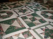 """Quilt Handmade Geometric Forms Floral and Geometric Prints 69"""" x 87"""" #8534"""