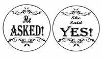 """24 Engagement """"He Asked She Said Yes"""" Edible Icing Cupcake Toppers"""