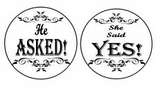 "24 Engagement ""He Asked She Said Yes"" Edible Icing Cupcake Toppers"