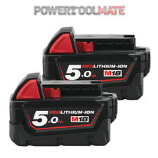 Milwaukee M18B5 X2 *TWIN PACK* 18v 5.0Ah Li-ion Batteries - Genuine Uk Stock